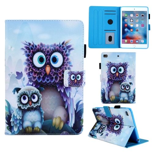 Animal Series Horizontal Flip Leather Case for iPad Mini1 / 2 / 3 / 4, with Holder & Sleep / Wake-up Function & Pen Slot(Owl Pattern)