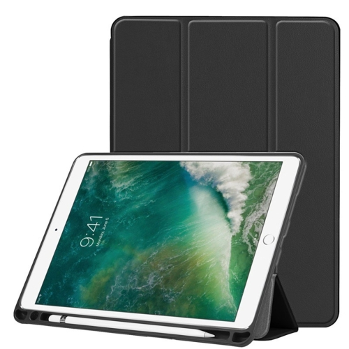 Custer Texture Horizontal Flip Leather Case for iPad Pro 10.5 Inch / iPad Air (2019), with Three-folding Holder & Pen Slot (Black)