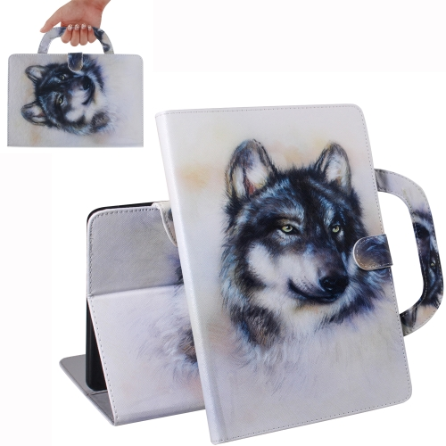Wolf Pattern Horizontal Flip Leather Case for iPad Mini(2019) / Mini 1 / 2 / 3 / 4, with Holder & Card Slot & Wallet