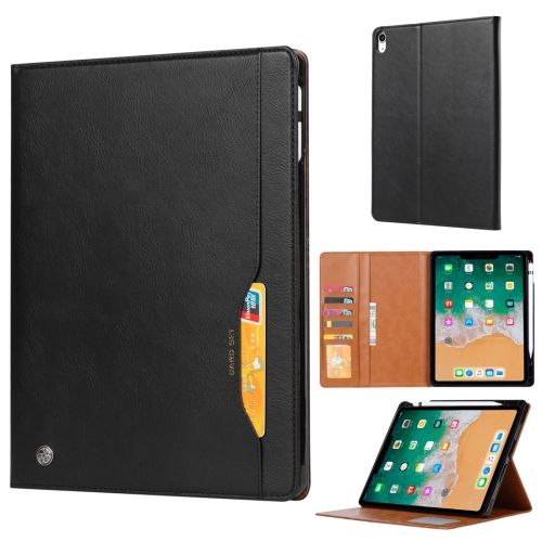 Knead Skin Texture Horizontal Flip Leather Case for iPad Pro 12.9 inch 2018, with Photo Frame & Holder & Card Slots & Wallet & Pen Slot (Black)