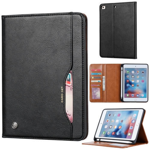 Knead Skin Texture Horizontal Flip Leather Case for iPad Mini 2019, with Photo Frame & Holder & Card Slots & Wallet & Pen Slot (Black)
