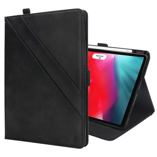 Horizontal Flip Double Holder Leather Case for iPad Pro 11 inch (2018), with Card Slots & Photo Frame & Pen Slot(Black)
