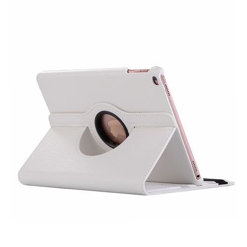 Litchi Texture Horizontal Flip 360 Degrees Rotation Leather Case for iPad Mini 2019, with Holder & Sleep / Wake-up Function (White)