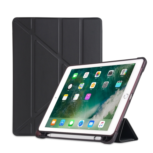 Multi-folding Shockproof TPU Protective Case for iPad 9.7 (2018) / 9.7 (2017) / air / air2, with Holder & Pen Slot(Black)