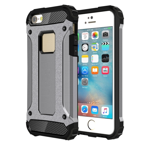 Tough Armor TPU + PC Combination Case for iPhone SE & 5 & 5s, Grey