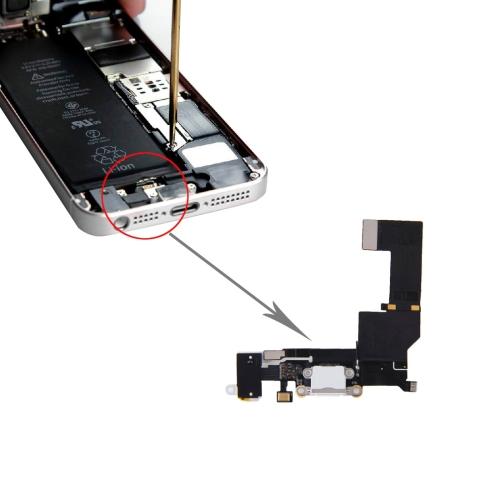Original Charging Port + Audio Flex Cable for iPhone SE(White)