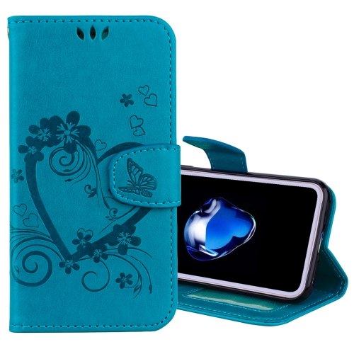 Buy For iPhone X Pressed Flowers Butterfly Love Pattern Horizontal Flip Leather Case with Holder & Card Slots & Wallet & Lanyard & Photo Frame, Blue for $2.69 in SUNSKY store