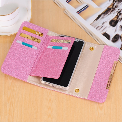 Buy For iPhone X Glitter Powder Frosted Shoulder Bag Horizontal Flip Leather Case Cover with Card Slots, Magenta for $7.09 in SUNSKY store