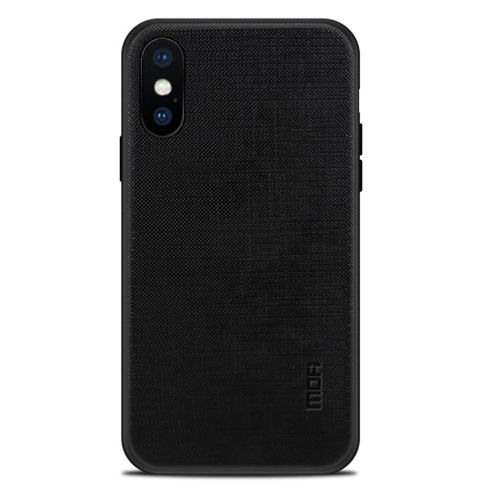 MOFI for iPhone X Anti-slip Full Coverage PC + TPU + Cloth Protective Back Cover Case(Black) protective anti radiation aviation aluminum alloy bumper frame case for iphone 5 5s