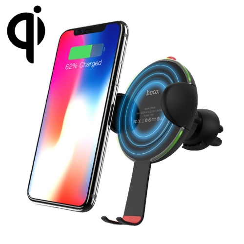 hoco CW4A Air Vent Mount Phone Holder 10W Car Wireless Rapid Charger, For iPhone, Galaxy, Huawei, Xiaomi, LG, HTC and Other QI Standard Smart Phones(Black) игрушка полесье катер прогулочный 62260