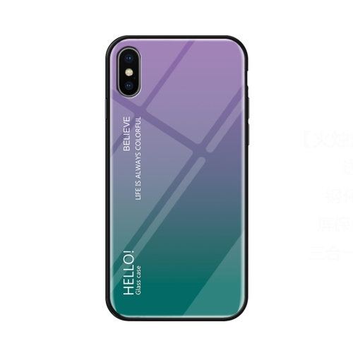 Gradient Color Glass Case for   iPhone X / XS   (Purple)
