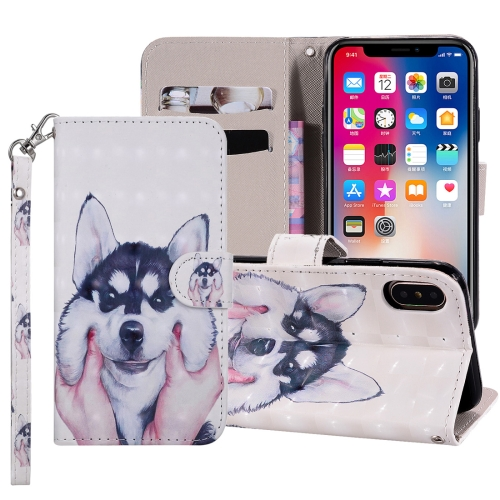 Husky Pattern Colored Drawing Horizontal Flip Leather Case for iPhone X / XS, with Holder & Card Slots & Wallet & Lanyard