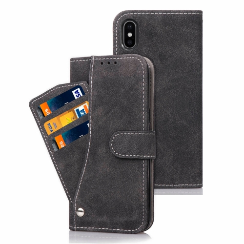 Frosted TPU Horizontal Flip Leather Case for iPhone XS, with Holder & Card Slots & Wallet & Photo Frame (Black)