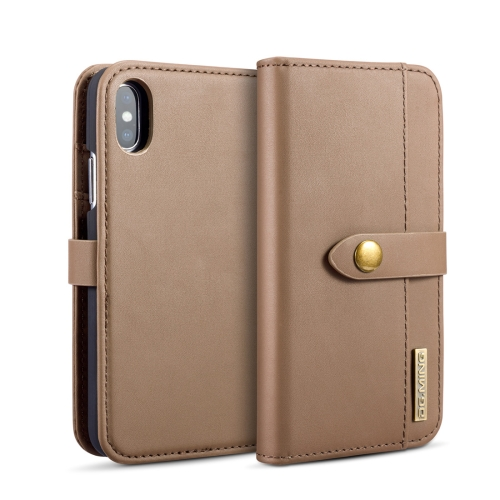 DG.MING Lambskin Detachable Horizontal Flip Magnetic Case for iPhone X, with Holder & Card Slots & Wallet (Brown)