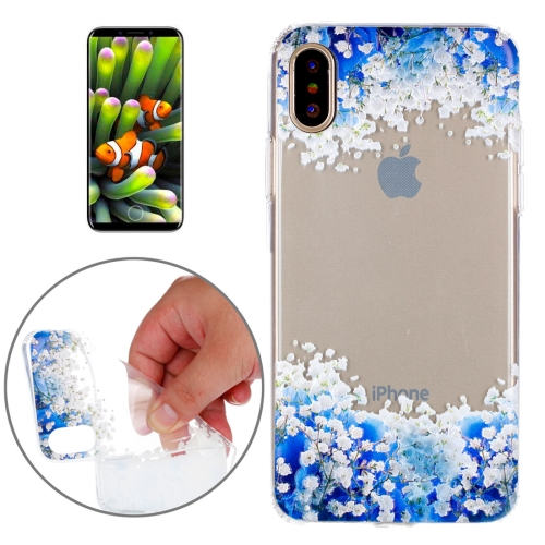 Buy For iPhone X Blue and White Flowers Pattern TPU Soft Protective Case for $1.48 in SUNSKY store