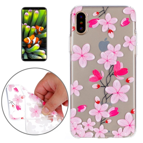 Buy For iPhone X Pink Flowers Pattern TPU Soft Protective Case for $1.47 in SUNSKY store