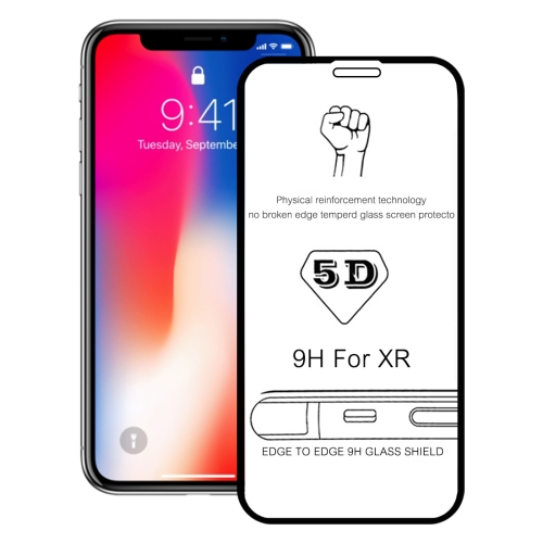 9H 5D Explosion-proof Full Glue Full Screen Tempered Glass Film for iPhone XR