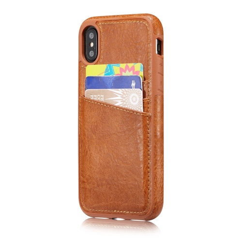Buy M109 for iPhone X Retro PU Leather Texture Shockproof Protective Back Cover Case with 3 Card Slots, Brown for $3.68 in SUNSKY store