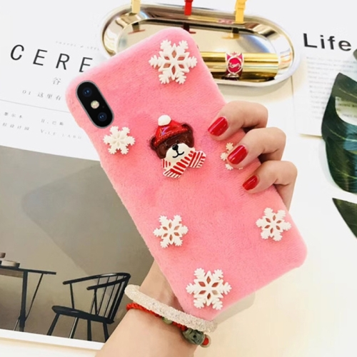 Buy For iPhone X Fashion Cute 3D Snow Christmas Bear Pattern Flannel Protective Back Cover Case, Pink for $4.19 in SUNSKY store