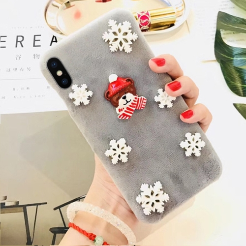 Buy For iPhone X Fashion Cute 3D Snow Christmas Bear Pattern Flannel Protective Back Cover Case, Grey for $4.19 in SUNSKY store