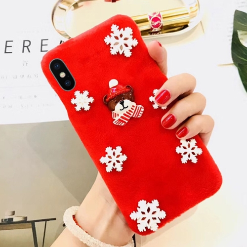 Buy For iPhone X Fashion Cute 3D Snow Christmas Bear Pattern Flannel Protective Back Cover Case, Red for $3.98 in SUNSKY store
