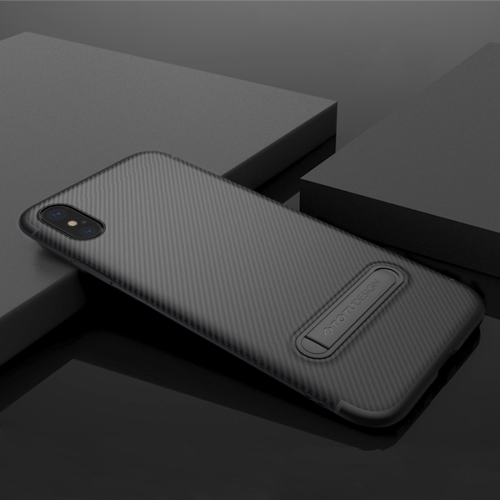 TOTUDESIGN For iPhone X Carbon Fiber Texture TPU Anti-slip Soft Protective Back Cover Case With Invisible Holder (Black) protective anti radiation aviation aluminum alloy bumper frame case for iphone 5 5s