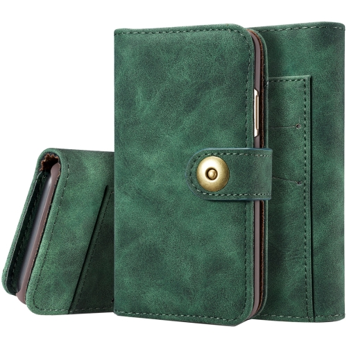 For iPhone X Retro Magnetic Horizontal Flip Leather Case with Card Slots & Wallet & Photo Frame & Detachable Back Cover(Green) for iphone x case magnetic metal frame tempered glass back magnet flip cover