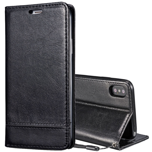 Buy For iPhone X Double-sided Absorption Splicing Horizontal Flip Leather Case with Holder & Card Slots & Lanyard, Black for $4.89 in SUNSKY store