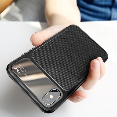 Baseus for iPhone X TPU Hombic Texture Protective Back Cover Case (Black) baseus little devil case for iphone 7 black
