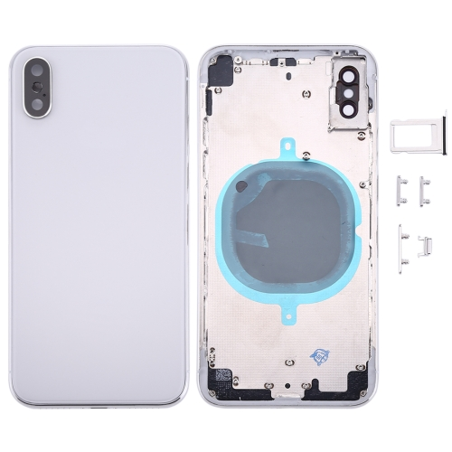 Back Housing Cover with SIM Card Tray & Side keys for iPhone X(Silver)