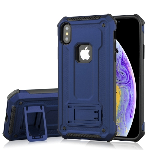 Shockproof PC + TPU Armor Protective Case for iPhone XS, with Holder (Blue)