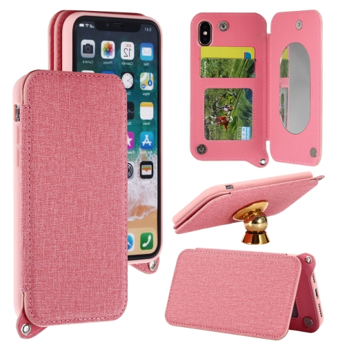 Buy For iPhone X Protective Back Case Cover with Card Slot & Photo Frame & Holder & Mirror, Pink for $3.69 in SUNSKY store