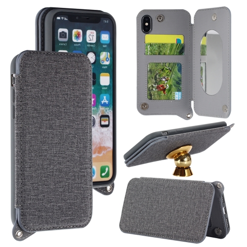 Buy For iPhone X Protective Back Case Cover with Card Slot & Photo Frame & Holder & Mirror, Grey for $3.69 in SUNSKY store