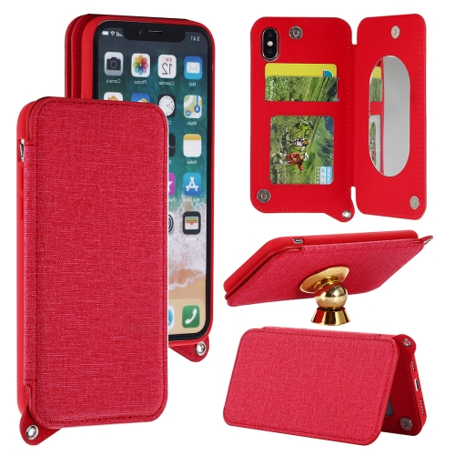 Buy For iPhone X Protective Back Case Cover with Card Slot & Photo Frame & Holder & Mirror, Red for $3.69 in SUNSKY store