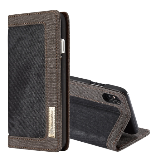 Buy CaseMe for iPhone X Denim + Canvas + PC Material Horizontal Flip Leather Case with Card Slot & Holder & Wallet & Photo Frame, Black for $4.97 in SUNSKY store