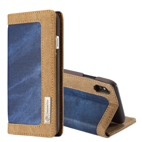 Buy CaseMe for iPhone X Denim + Canvas + PC Material Horizontal Flip Leather Case with Card Slot & Holder & Wallet & Photo Frame, Blue for $4.97 in SUNSKY store
