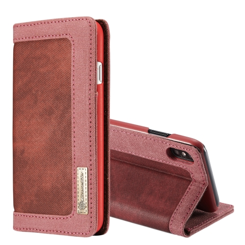 Buy CaseMe for iPhone X Denim + Canvas + PC Material Horizontal Flip Leather Case with Card Slot & Holder & Wallet & Photo Frame, Red for $4.97 in SUNSKY store