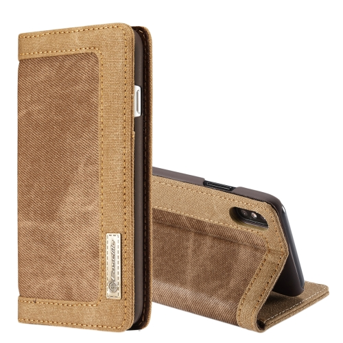 Buy CaseMe for iPhone X Denim + Canvas + PC Material Horizontal Flip Leather Case with Card Slot & Holder & Wallet & Photo Frame, Brown for $4.97 in SUNSKY store