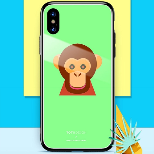 TOTUDESIGN for iPhone X Monkey Pattern Hard Protective Back Case(Green) love boy pattern protective back case for iphone 4 4s yellow