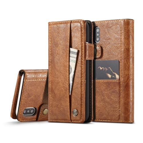 CaseMe for iPhone X / XS Crazy Horse Texture Horizontal Flip Card Slots Leather Case with Magnetic Clasp & Wallet(Brown)