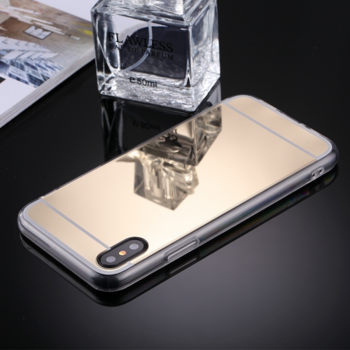 Buy For iPhone X Acrylic + TPU Electroplating Mirror Protective Back Cover Case, Gold for $1.27 in SUNSKY store