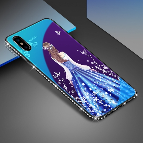 For iPhone X Beauty Pattern TPU + Glass Painted Blue Light Protective Back Cover Case long hair beauty figure w sparkling crystal protective plastic back case for iphone 5 white