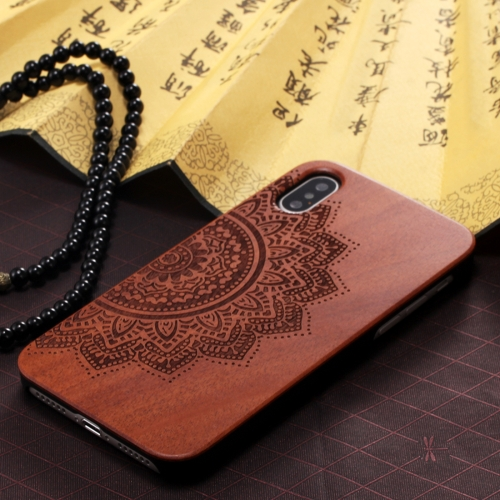 Buy For iPhone X Half The Flower Pattern Oil Spout PC Carving Rosewood Wooden Protective Back Cover Case for $6.12 in SUNSKY store