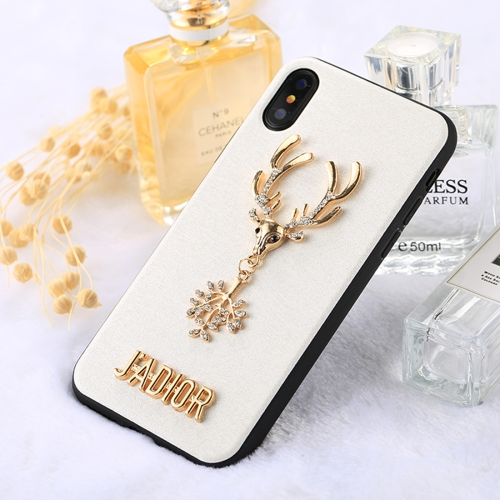 Buy Fevelove for iPhone X 3D Diamond Sika Deer Pattern Soft TPU Protective Case, White for $3.01 in SUNSKY store