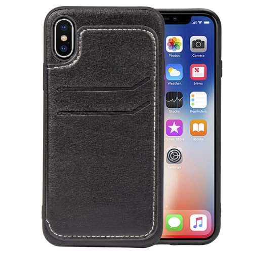 Simple Leather Texture TPU Magnetic Leather Case for iPhone X, with Holder & Card Slots & Wallet (Black)