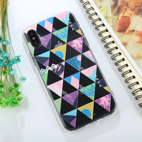 For iPhone X Embossed Colorful Triangle Pattern TPU Protective Back Cover Case ultra thin embossed flower pattern protective tpu back case for iphone 5 5s white light pink