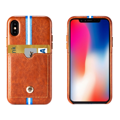 Buy REMAX for iPhone X Leather Surface Protective Back Cover Case with Card Slot, Brown for $5.77 in SUNSKY store