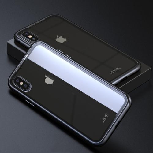 CAFELE Tempered Glass Back Magnetic Case for iPhone X (Black) for iphone x case magnetic metal frame tempered glass back magnet flip cover