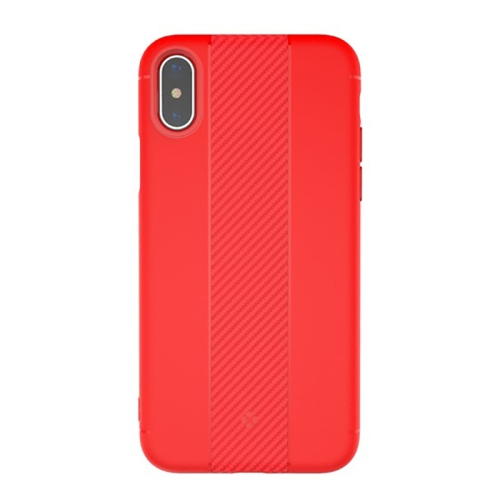 Buy TOTUDESIGN For iPhone X Carbon Fiber Texture TPU Anti-slip Soft Protective Back Cover Case, Red for $2.66 in SUNSKY store