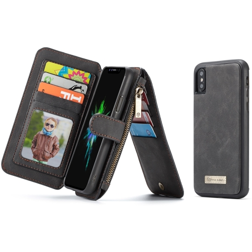 CaseMe-007 for iPhone X / XS TPU + PC Magnetic Absorption Detachable Back Cover Horizontal Flip Leather Case with Card Slots & Zipper Wallet & Photo Frame (Black)